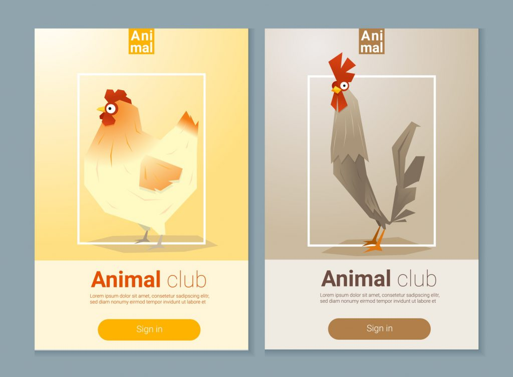 Set of templates with chicken for web design 2