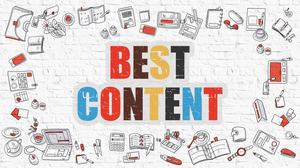 Best Content Concept with Doodle Design Icons.